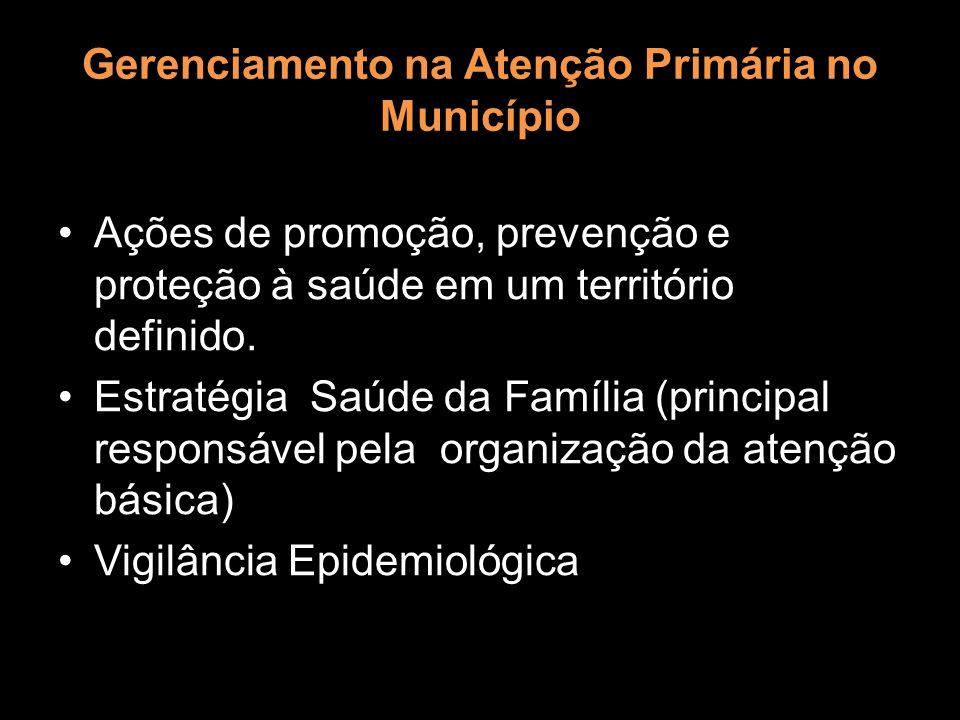 Gerenciamento na Atenção Primária no Município Ações de promoção, prevenção e proteção à saúde em um território definido. Estratégia Saúde da Família