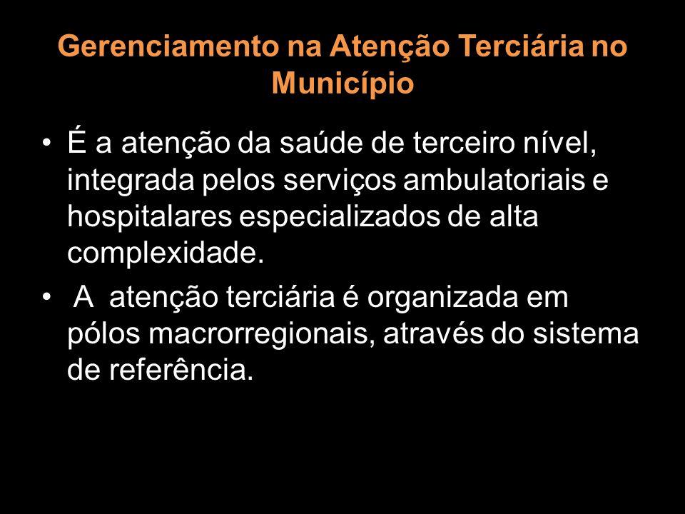 Gerenciamento na Atenção Terciária no Município É a atenção da saúde de terceiro nível, integrada pelos serviços ambulatoriais e hospitalares especial
