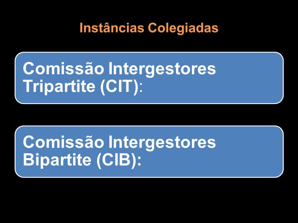 Instâncias Colegiadas Comissão Intergestores Tripartite (CIT): Comissão Intergestores Bipartite (CIB):