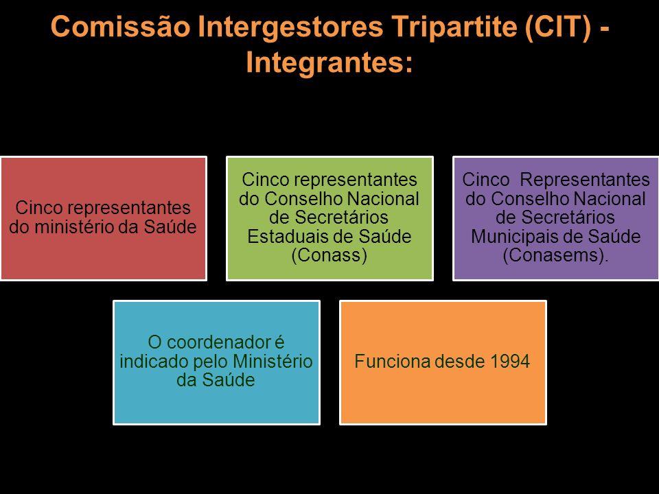 Comissão Intergestores Tripartite (CIT) - Integrantes: Cinco representantes do ministério da Saúde Cinco representantes do Conselho Nacional de Secret