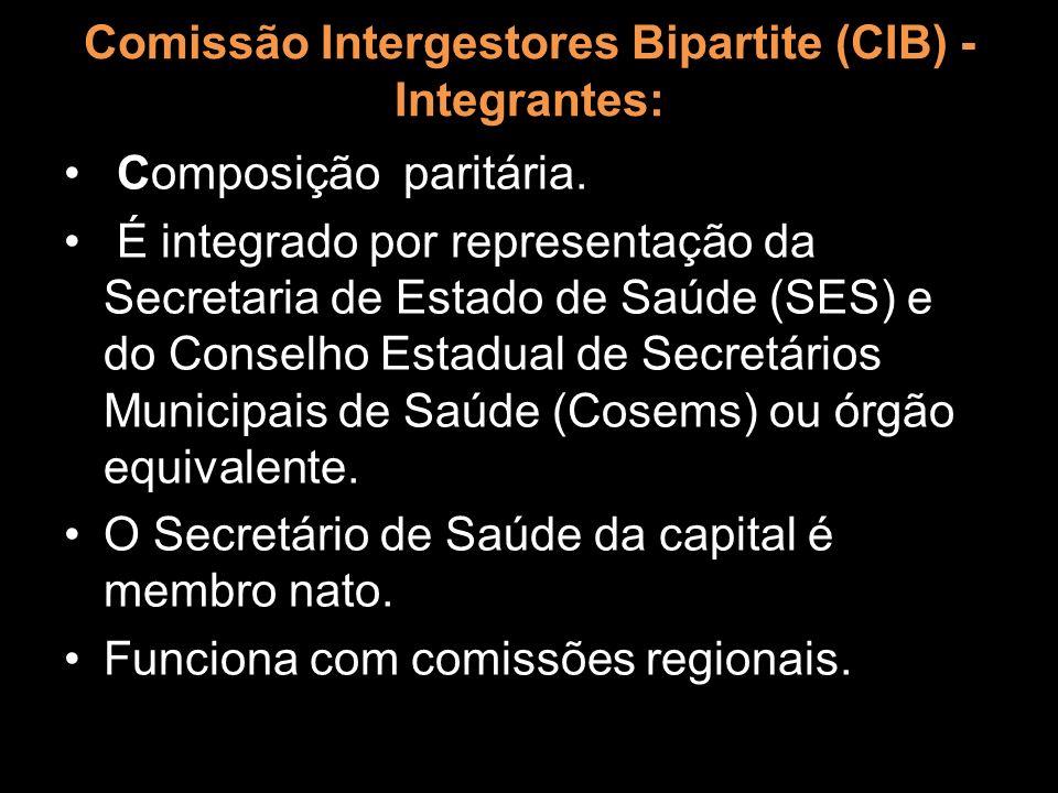 Comissão Intergestores Bipartite (CIB) - Integrantes: Composição paritária. É integrado por representação da Secretaria de Estado de Saúde (SES) e do