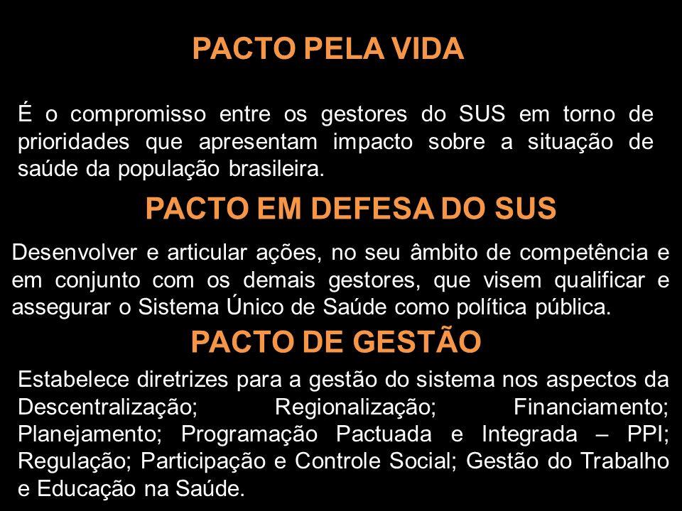 PACTO PELA VIDA É o compromisso entre os gestores do SUS em torno de prioridades que apresentam impacto sobre a situação de saúde da população brasile