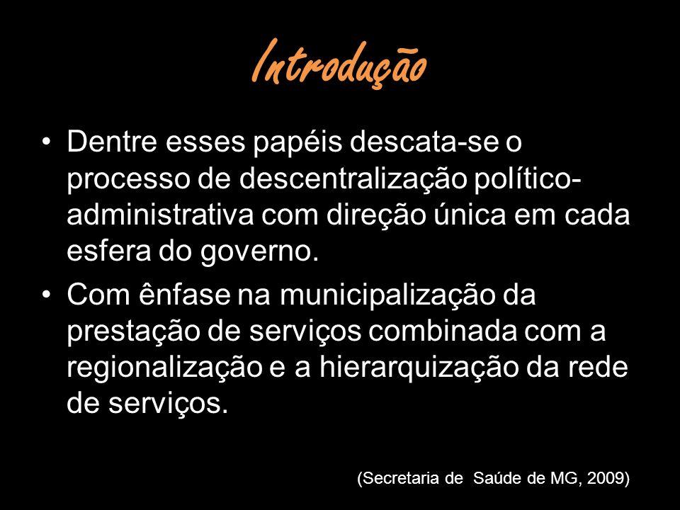 Introdução Dentre esses papéis descata-se o processo de descentralização político- administrativa com direção única em cada esfera do governo. Com ênf