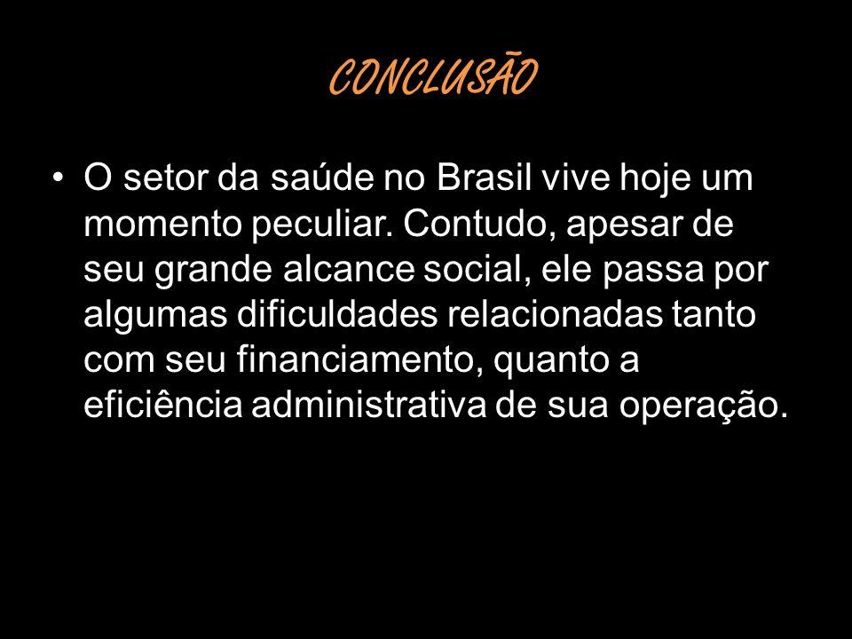 CONCLUSÃO CONCLUSÃO O setor da saúde no Brasil vive hoje um momento peculiar. Contudo, apesar de seu grande alcance social, ele passa por algumas difi