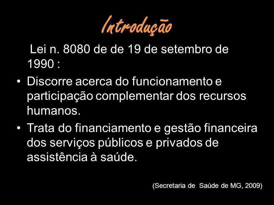 Introdução Lei n. 8080 de de 19 de setembro de 1990 : Discorre acerca do funcionamento e participação complementar dos recursos humanos. Trata do fina