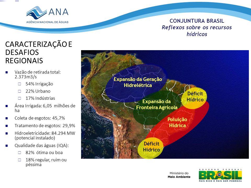 Expansão da Geração Hidrelétrica Expansão da Fronteira Agrícola Poluição Hídrica Déficit Hídrico CARACTERIZAÇÃO E DESAFIOS REGIONAIS Vazão de retirada
