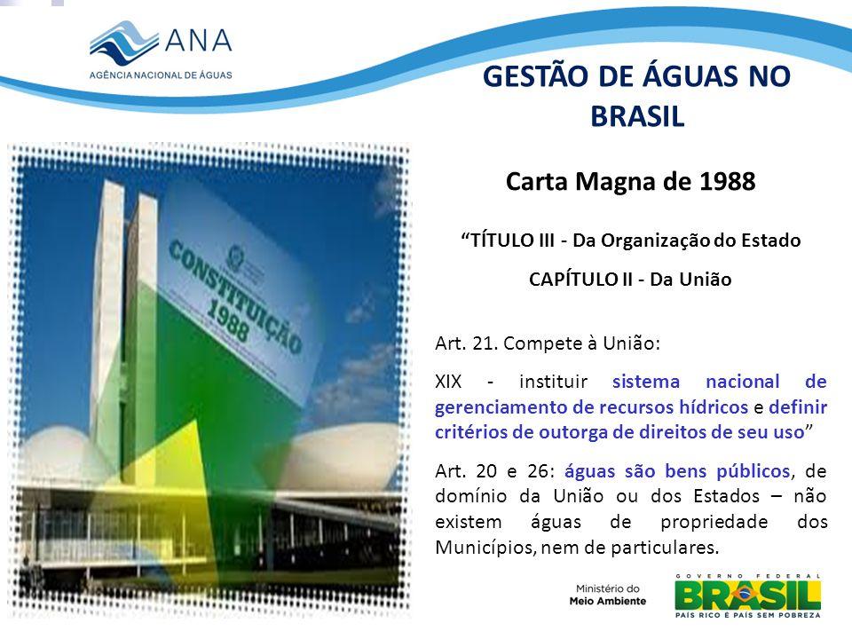 Carta Magna de 1988 TÍTULO III - Da Organização do Estado CAPÍTULO II - Da União Art. 21. Compete à União: XIX - instituir sistema nacional de gerenci