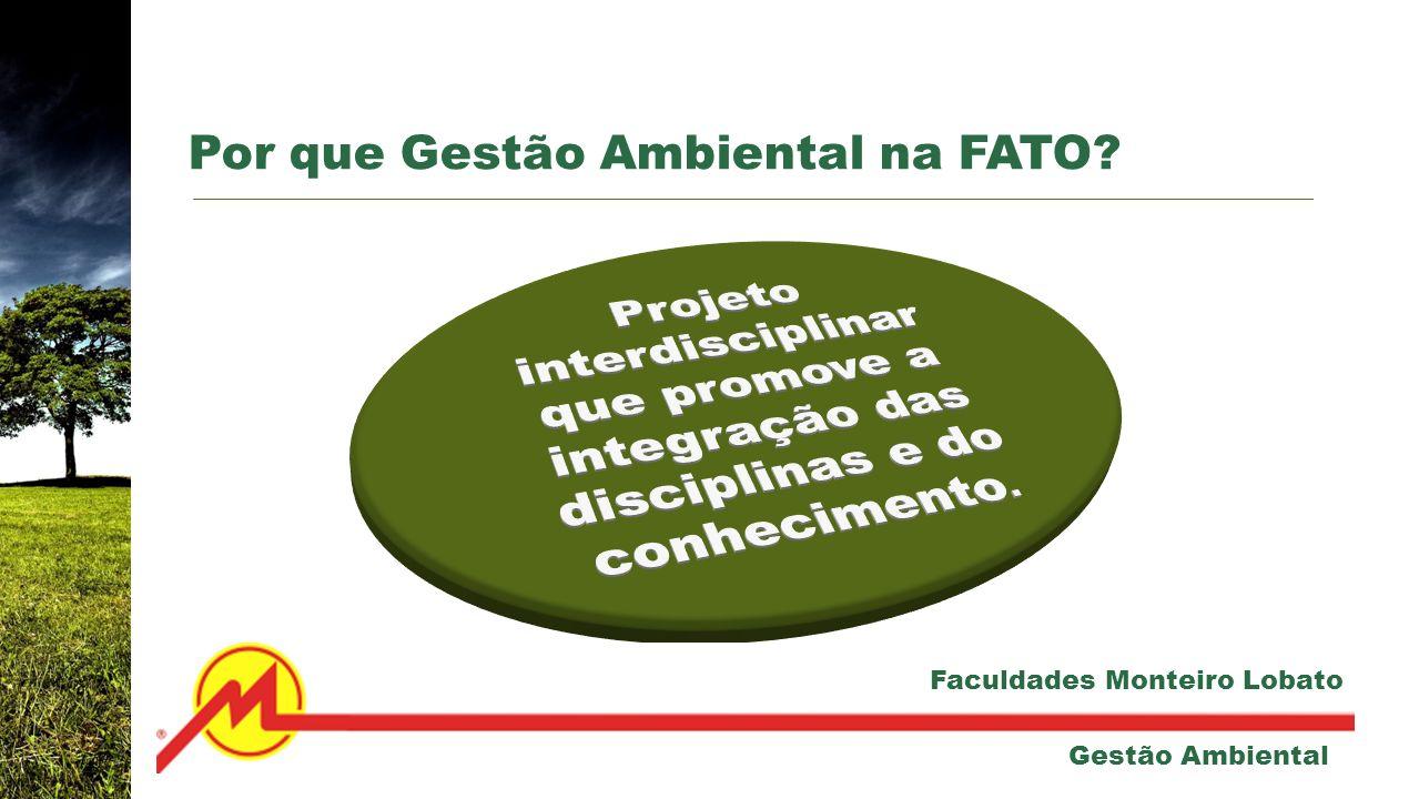 Por que Gestão Ambiental na FATO? Gestão Ambiental Faculdades Monteiro Lobato