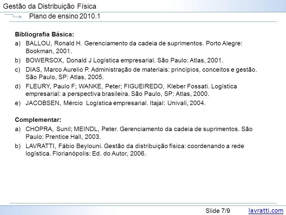 lavratti.com Slide 7/9 Gestão da Distribuição Física Plano de ensino 2010.1 Bibliografia Básica: a)BALLOU, Ronald H. Gerenciamento da cadeia de suprim