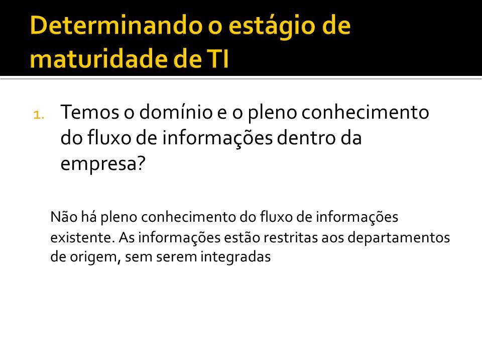 1.Temos o domínio e o pleno conhecimento do fluxo de informações dentro da empresa.