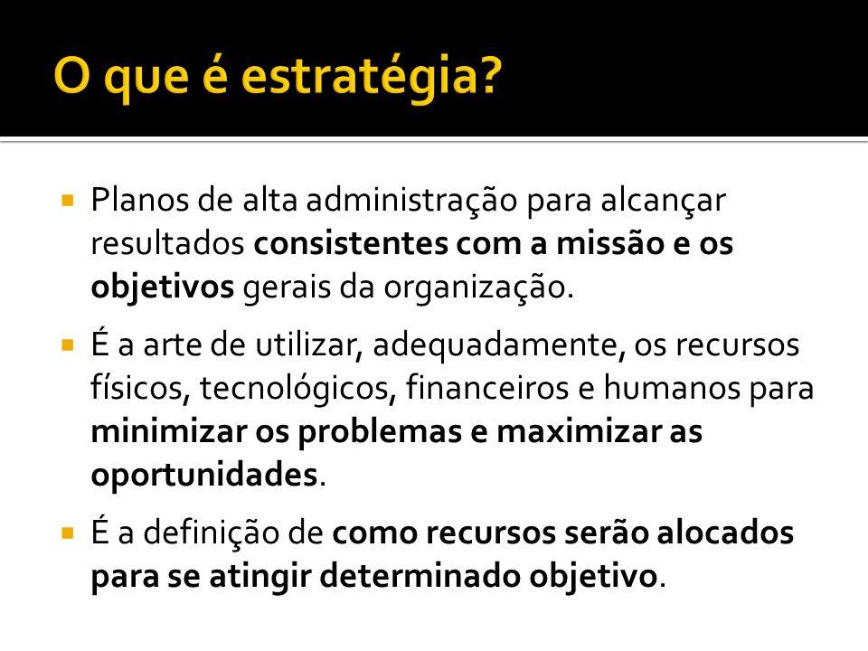 Planos de alta administração para alcançar resultados consistentes com a missão e os objetivos gerais da organização.