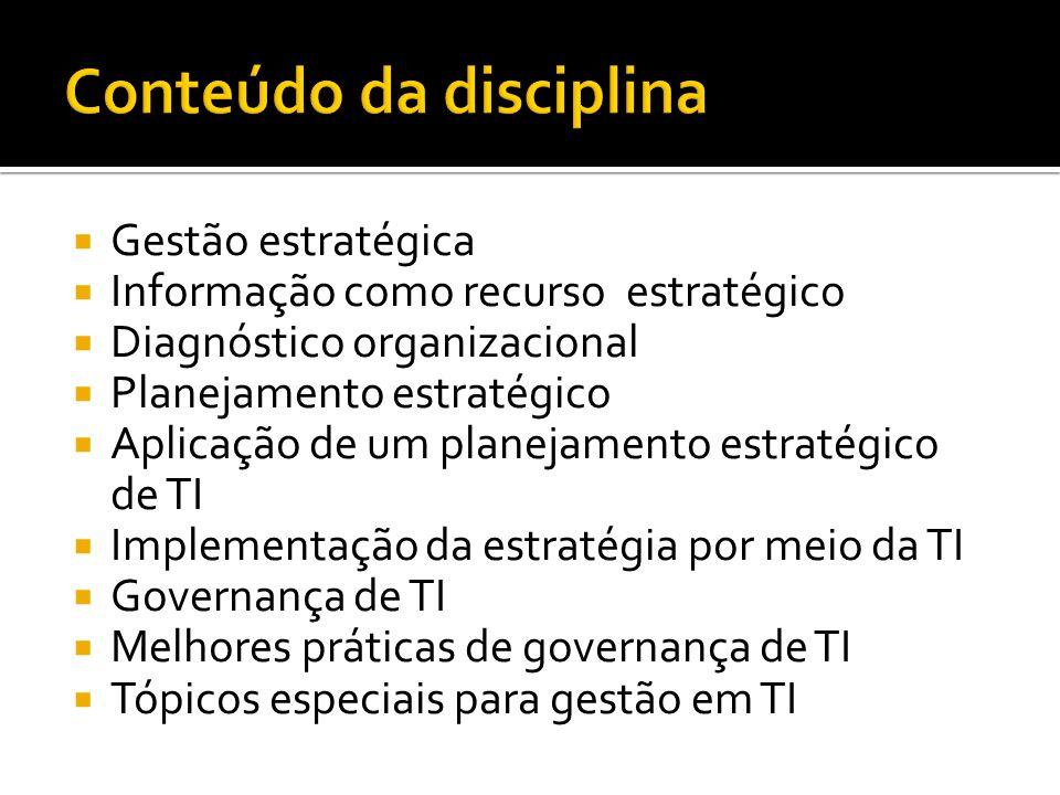 Gestão estratégica Informação como recurso estratégico Diagnóstico organizacional Planejamento estratégico Aplicação de um planejamento estratégico de TI Implementação da estratégia por meio da TI Governança de TI Melhores práticas de governança de TI Tópicos especiais para gestão em TI