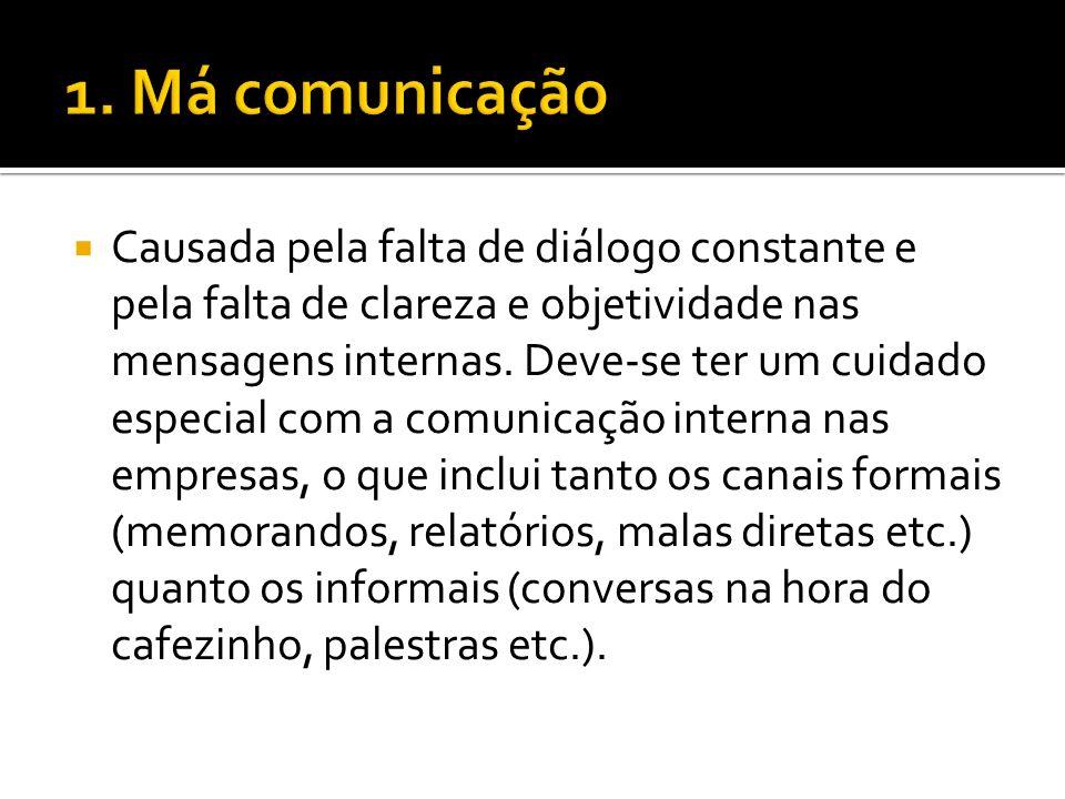 Causada pela falta de diálogo constante e pela falta de clareza e objetividade nas mensagens internas.
