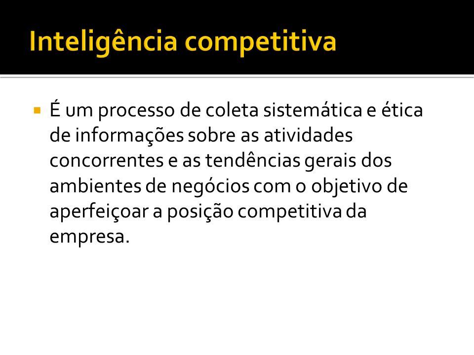 É um processo de coleta sistemática e ética de informações sobre as atividades concorrentes e as tendências gerais dos ambientes de negócios com o objetivo de aperfeiçoar a posição competitiva da empresa.