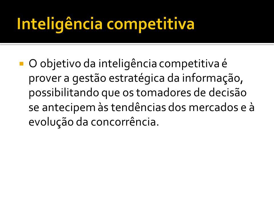 O objetivo da inteligência competitiva é prover a gestão estratégica da informação, possibilitando que os tomadores de decisão se antecipem às tendências dos mercados e à evolução da concorrência.