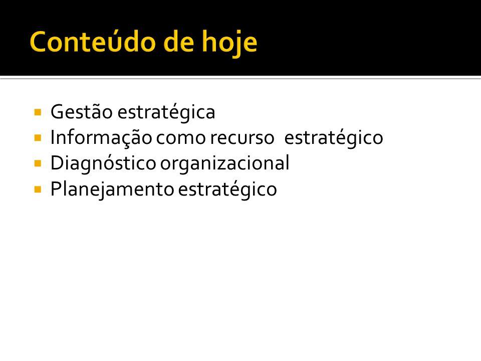 Gestão estratégica Informação como recurso estratégico Diagnóstico organizacional Planejamento estratégico