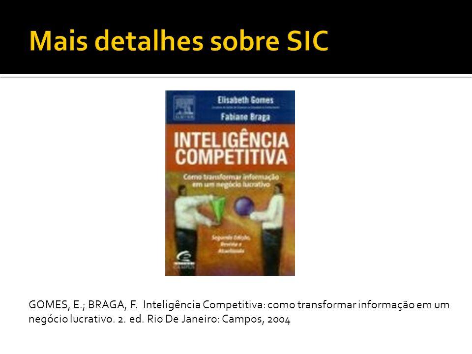 GOMES, E.; BRAGA, F.Inteligência Competitiva: como transformar informação em um negócio lucrativo.