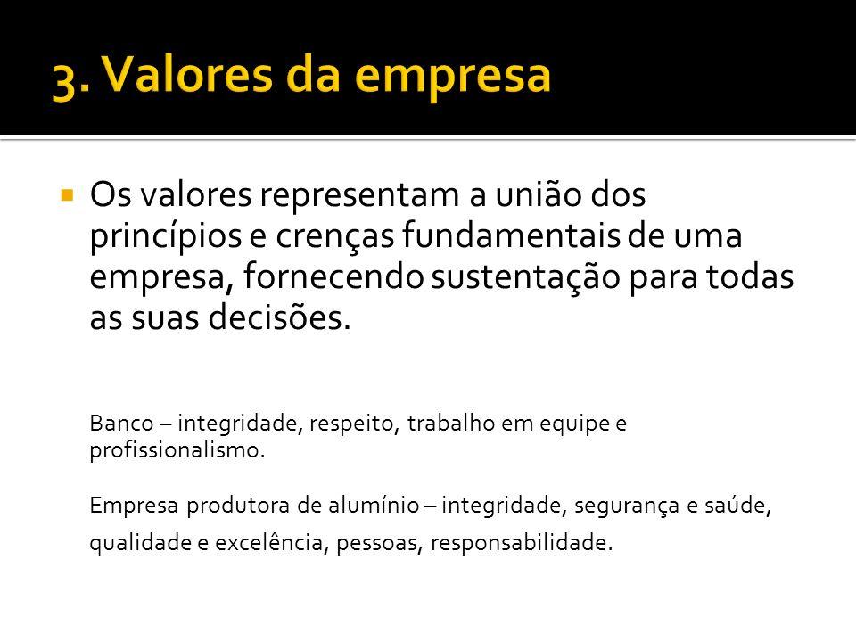 Os valores representam a união dos princípios e crenças fundamentais de uma empresa, fornecendo sustentação para todas as suas decisões.