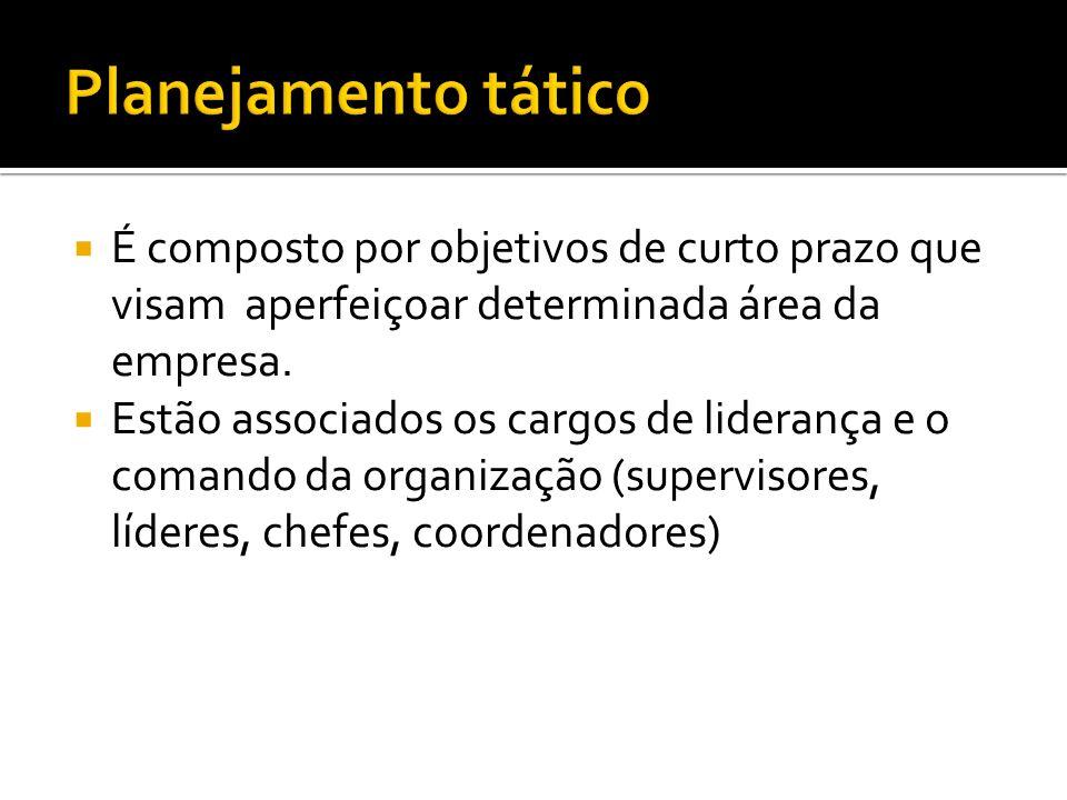 É composto por objetivos de curto prazo que visam aperfeiçoar determinada área da empresa.