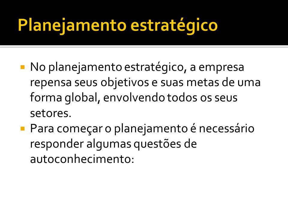 No planejamento estratégico, a empresa repensa seus objetivos e suas metas de uma forma global, envolvendo todos os seus setores.