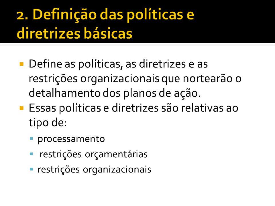 Define as políticas, as diretrizes e as restrições organizacionais que nortearão o detalhamento dos planos de ação.