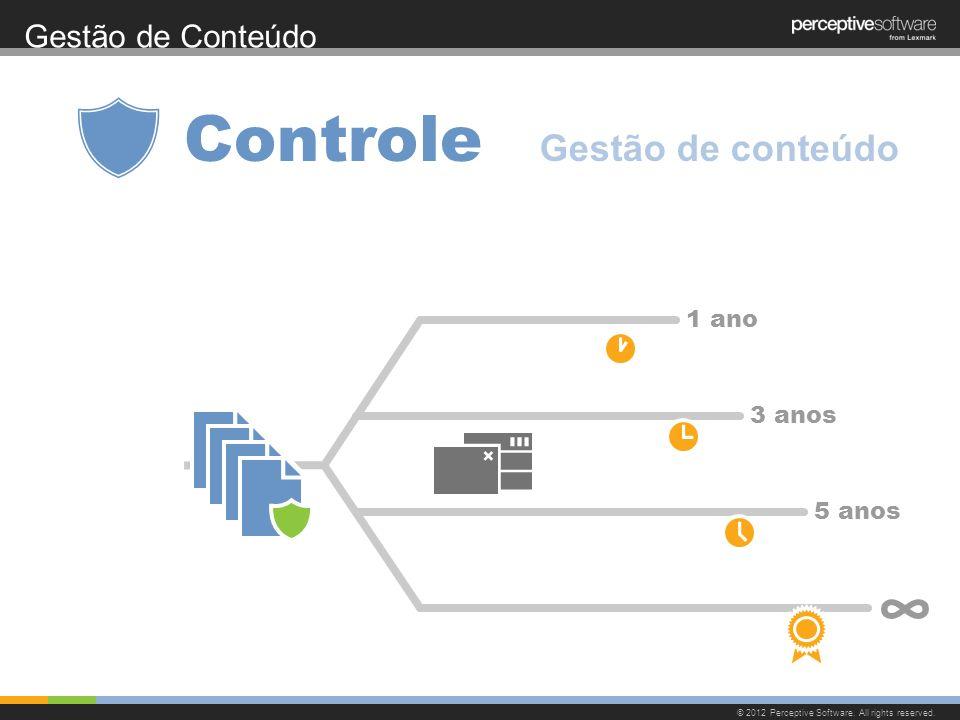 Gestão de Conteúdo © 2012 Perceptive Software. All rights reserved. Controle 1 ano 3 anos 5 anos Gestão de conteúdo