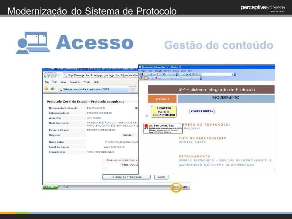 Modernização do Sistema de Protocolo Acesso Gestão de conteúdo