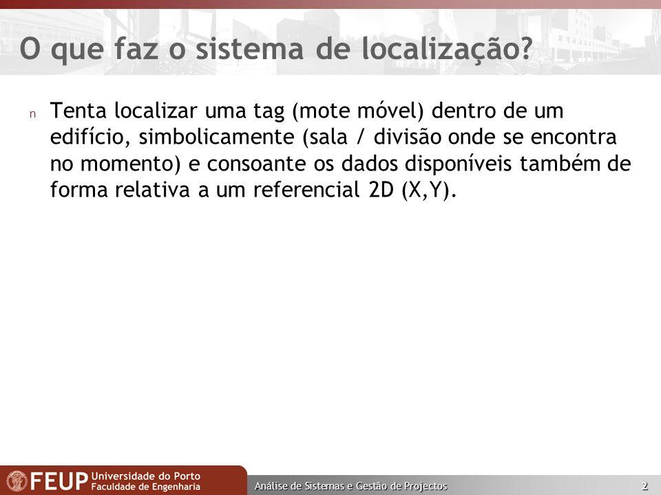 Análise de Sistemas e Gestão de Projectos 2 O que faz o sistema de localização.