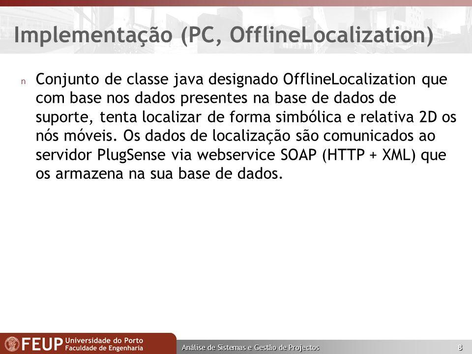 Análise de Sistemas e Gestão de Projectos 8 Implementação (PC, OfflineLocalization) n Conjunto de classe java designado OfflineLocalization que com base nos dados presentes na base de dados de suporte, tenta localizar de forma simbólica e relativa 2D os nós móveis.