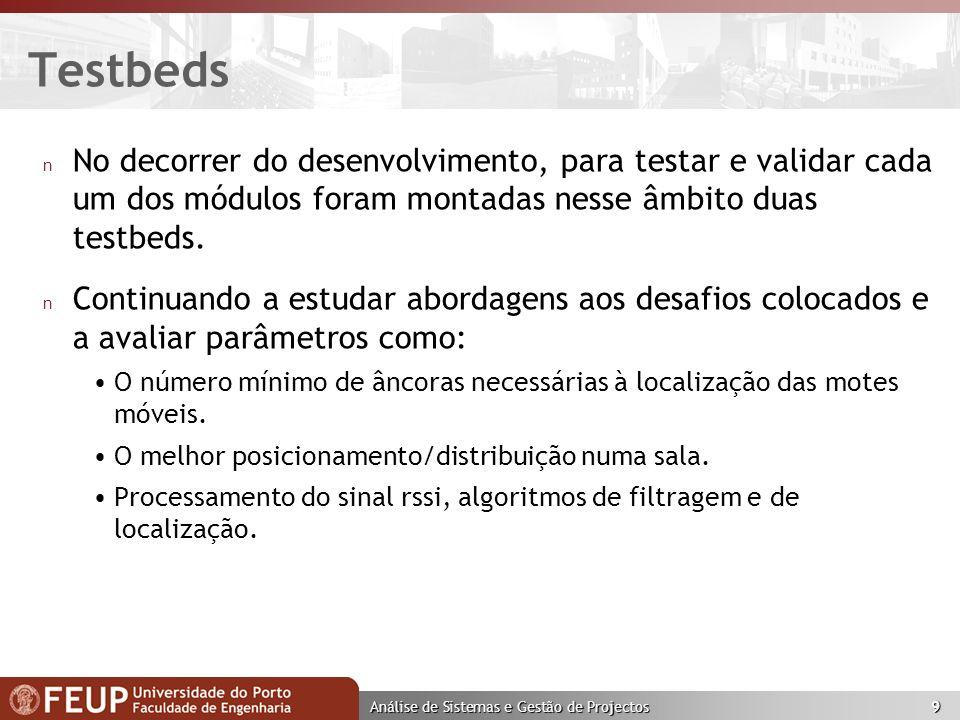 Análise de Sistemas e Gestão de Projectos 10 Testbed 1 n Composta por 3 divisões.