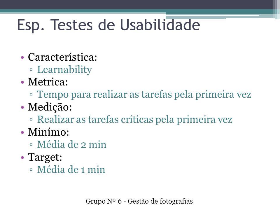 Esp. Testes de Usabilidade Característica: Learnability Metrica: Tempo para realizar as tarefas pela primeira vez Medição: Realizar as tarefas crítica