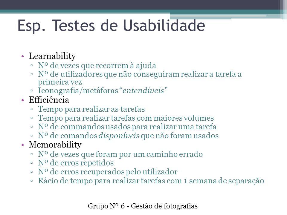 Esp. Testes de Usabilidade Learnability Nº de vezes que recorrem à ajuda Nº de utilizadores que não conseguiram realizar a tarefa a primeira vez Icono