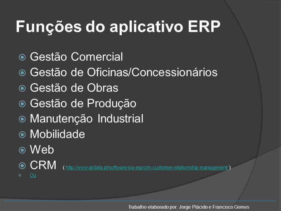 Funções do aplicativo ERP Gestão Comercial Gestão de Oficinas/Concessionários Gestão de Obras Gestão de Produção Manutenção Industrial Mobilidade Web