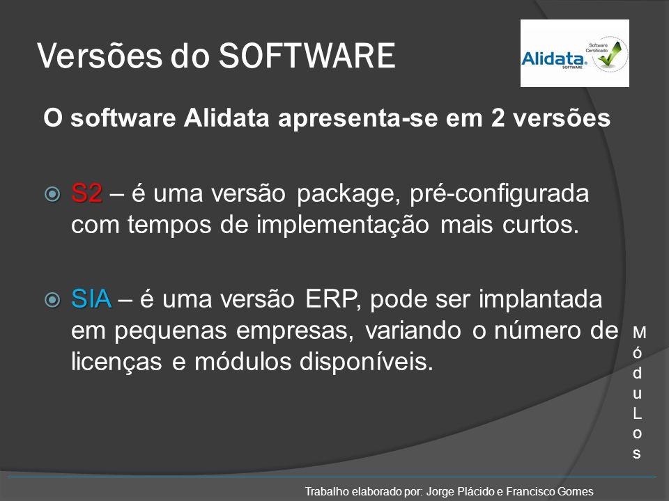 Versões do SOFTWARE O software Alidata apresenta-se em 2 versões S2 S2 – é uma versão package, pré-configurada com tempos de implementação mais curtos