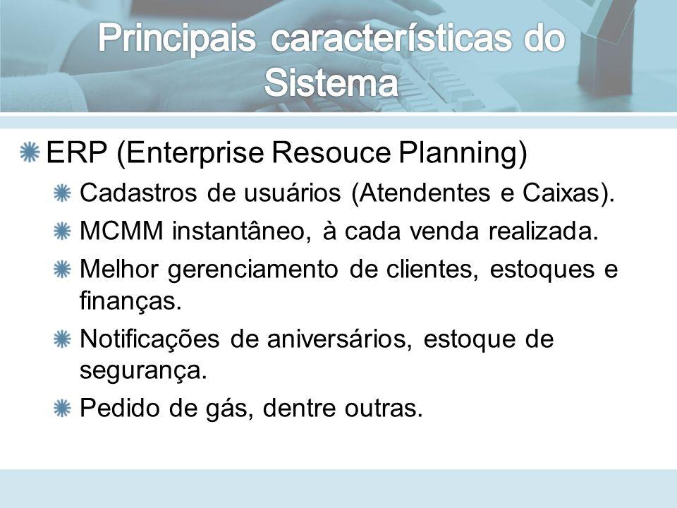 ERP (Enterprise Resouce Planning) Cadastros de usuários (Atendentes e Caixas).