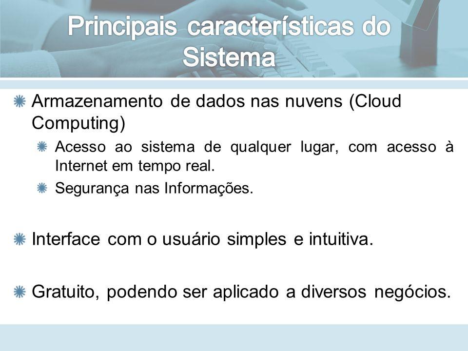 Armazenamento de dados nas nuvens (Cloud Computing) Acesso ao sistema de qualquer lugar, com acesso à Internet em tempo real.