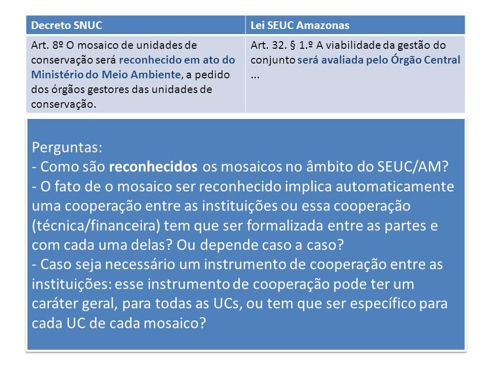Perguntas: - Como são reconhecidos os mosaicos no âmbito do SEUC/AM? - O fato de o mosaico ser reconhecido implica automaticamente uma cooperação entr