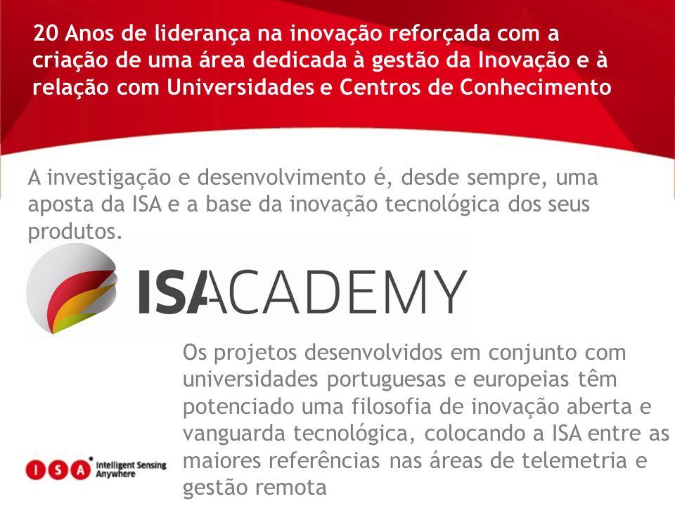 20 Anos de liderança na inovação reforçada com a criação de uma área dedicada à gestão da Inovação e à relação com Universidades e Centros de Conhecim