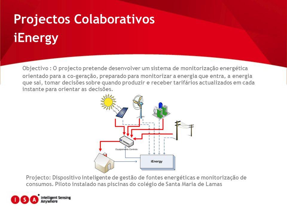 Projectos Colaborativos iEnergy Objectivo : O projecto pretende desenvolver um sistema de monitorização energética orientado para a co-geração, prepar