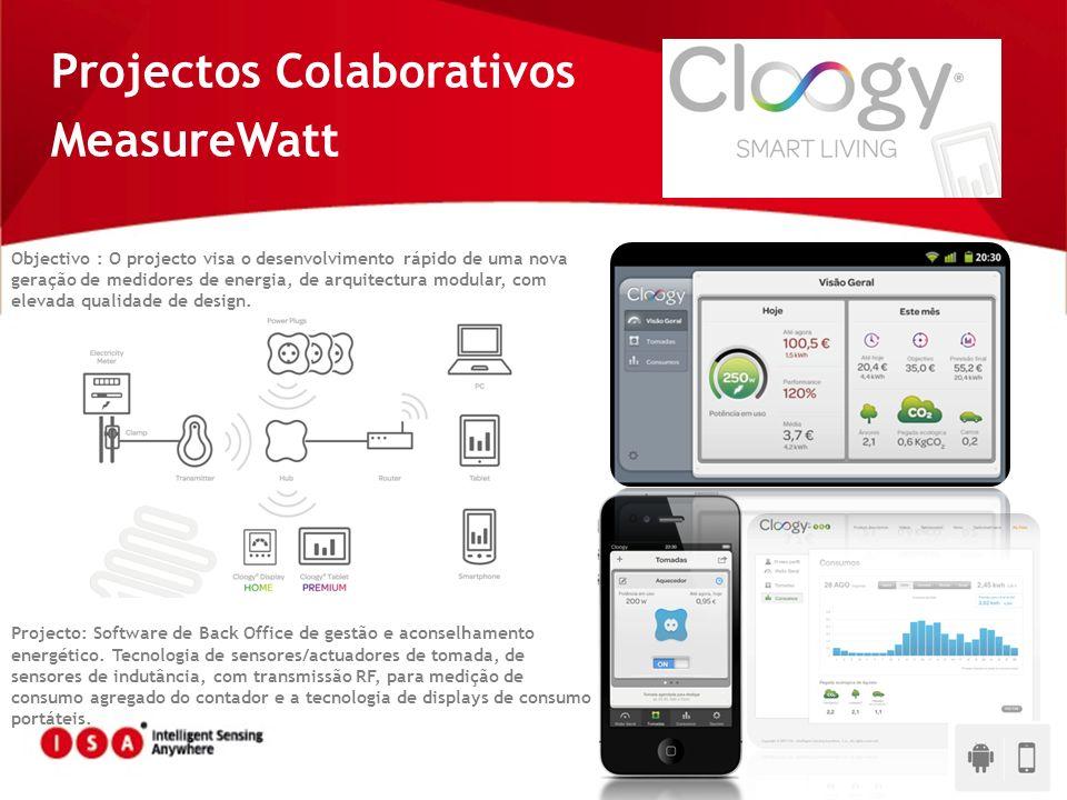 Projectos Colaborativos MeasureWatt Objectivo : O projecto visa o desenvolvimento rápido de uma nova geração de medidores de energia, de arquitectura