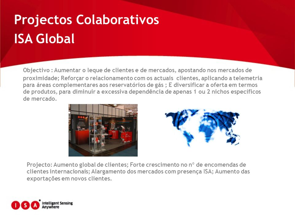Projectos Colaborativos ISA Global Objectivo : Aumentar o leque de clientes e de mercados, apostando nos mercados de proximidade; Reforçar o relaciona