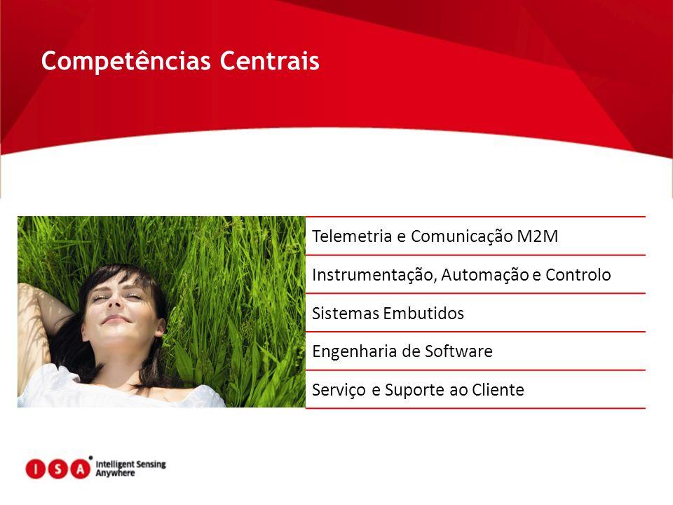 Competências Centrais Telemetria e Comunicação M2M Instrumentação, Automação e Controlo Sistemas Embutidos Engenharia de Software Serviço e Suporte ao