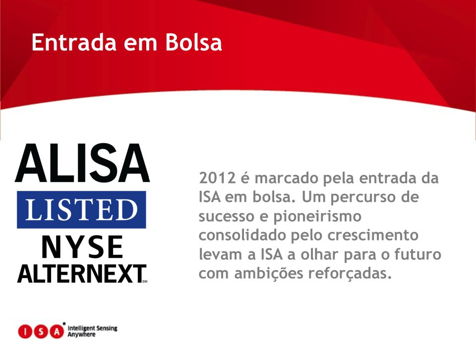 Entrada em Bolsa 2012 é marcado pela entrada da ISA em bolsa. Um percurso de sucesso e pioneirismo consolidado pelo crescimento levam a ISA a olhar pa
