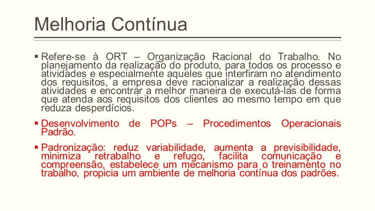 Melhoria Contínua Refere-se à ORT – Organização Racional do Trabalho.
