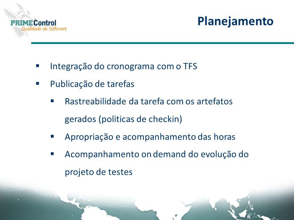 Planejamento Integração do cronograma com o TFS Publicação de tarefas Rastreabilidade da tarefa com os artefatos gerados (politicas de checkin) Apropr