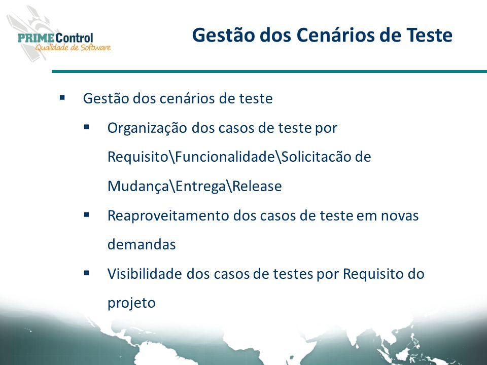 Gestão dos Cenários de Teste Gestão dos cenários de teste Organização dos casos de teste por Requisito\Funcionalidade\Solicitacão de Mudança\Entrega\R