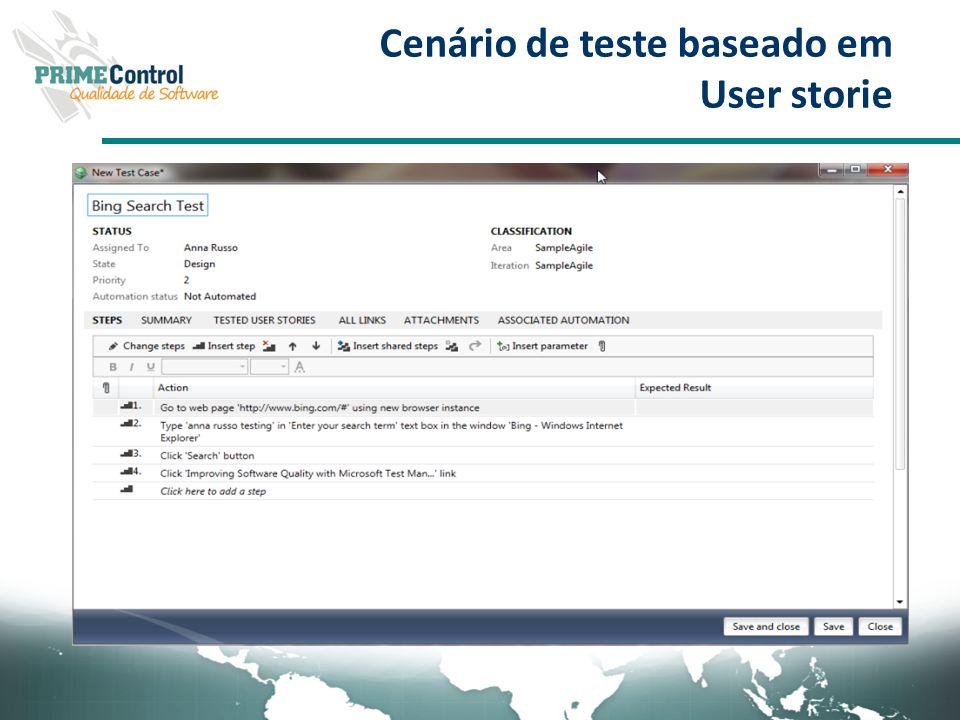 Cenário de teste baseado em User storie
