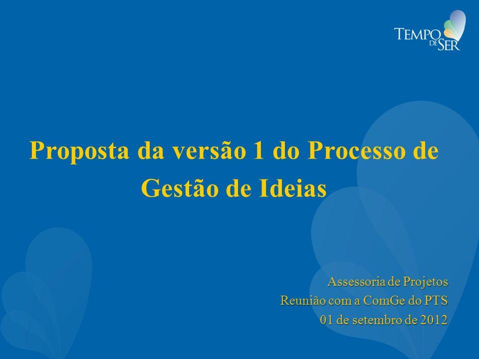 Proposta da versão 1 do Processo de Gestão de Ideias Assessoria de Projetos Reunião com a ComGe do PTS 01 de setembro de 2012