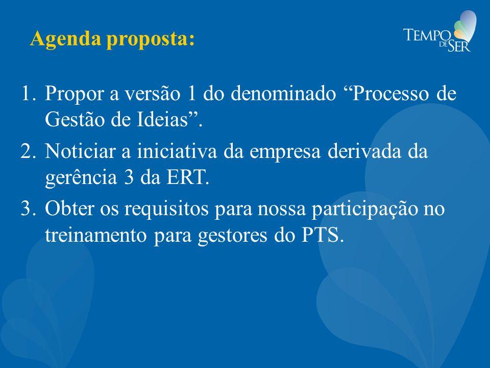 Agenda proposta: 1.Propor a versão 1 do denominado Processo de Gestão de Ideias. 2.Noticiar a iniciativa da empresa derivada da gerência 3 da ERT. 3.O