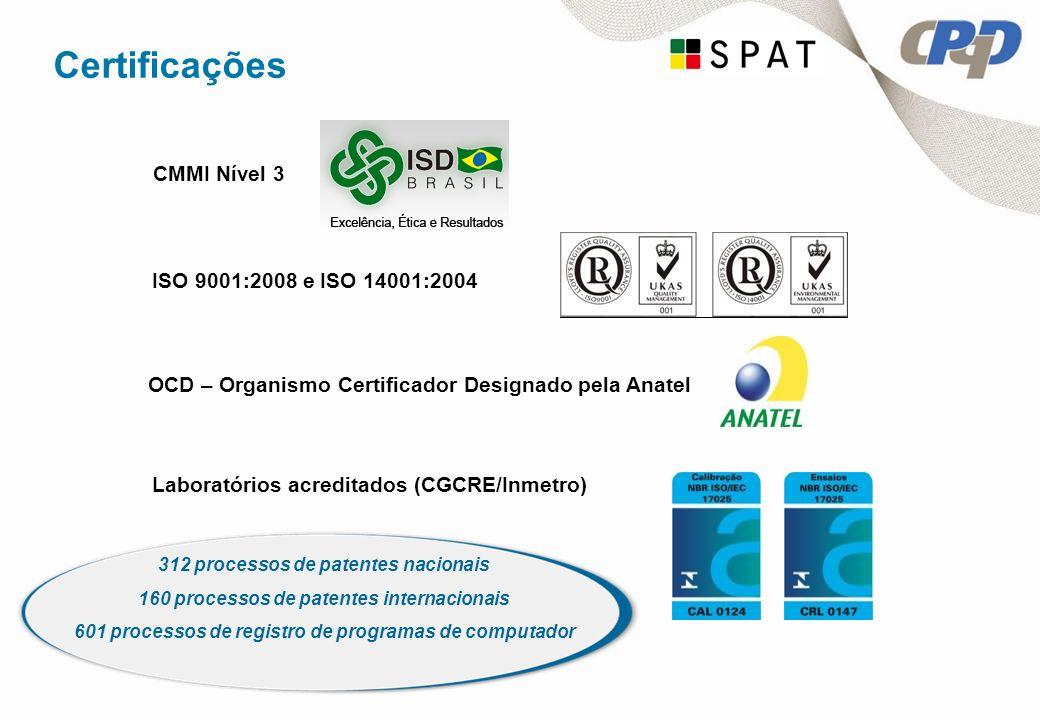 Certificações ISO 9001:2008 e ISO 14001:2004 Laboratórios acreditados (CGCRE/Inmetro) CMMI Nível 3 OCD – Organismo Certificador Designado pela Anatel 312 processos de patentes nacionais 160 processos de patentes internacionais 601 processos de registro de programas de computador